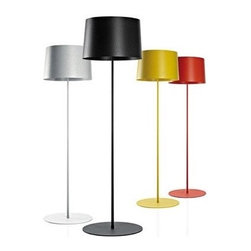 TWIGGY LETTURA by FOSCARINI - These colorful and straightforward floor lamps add strong silhouettes as well as good reading light to any room in your home. Use one next to the sofa or perhaps use a pair flanking your bed.