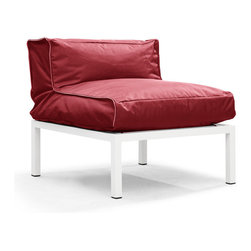 Zuo Modern - Zuo Modern Copacabana Middle in Red - Middle in Red belongs to Copacabana Collection by Zuo Modern The Copacabana collection is designed for funky versatility. This set has modular pieces of an armless chair, a corner armchair, an ottoman, and a table. The cover is made from a completely waterproof and UV resistant polyester fiber. The frame is made from an epoxy coated aluminum. The fill is 100% pure polystyrene beads. All the cushions can be attached via durable oversize zipper. Have fun with the cushions and throw them in the pool...they will float! Middle (1)