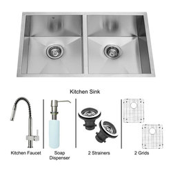 Vigo Industries - 32 in. Undermount Double Bowl Sink and Faucet - Includes kitchen sink, faucet, soap dispenser, two matching bottom grids, two sink strainers, all mounting hardware and hot-cold waterlines.