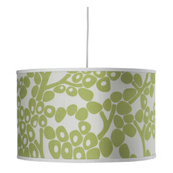 Oilo - Modern Berries Large Cylinder, Spring Green - These playful berries will cast a warm glow on any room. The classic drum shade includes a white acrylic sheet that diffuses light beautifully and the simple white cord allows you to adjust its height up to 55 inches. This would look great in a modern kitchen over a table.