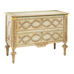 "Inviting Home - Hand-Painted Tuscan Chest - Hand-carved Tuscan style chest with raised laurel garlands finished in antiqued goldleaf on a hand-painted antiqued green and ivory background. Hand-carved raised laurel wreaths on the sides fluted legs two drawers with carved leaf handles and antiqued brass locks and keys; 49-1/2""W x 21-1/2""D x 35-1/2""H made in Italy Hand-carved Tuscan style chest with raised laurel garlands finished in antiqued gold-leaf. Tuscan chest has a hand-painted antique green and ivory background. Tuscan chests' design features hand-carved raised laurel wreaths on the sides and fluted legs. Hand-crafted chest has two drawers with carved leaf handles and antiqued brass locks and keys. This chest is hand-crafted in Italy."