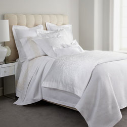 """SFERRA - SFERRA Queen Embroidered Flat Sheet - Both simple and breathtaking, Sferra's """"White Jacquard"""" bed linens showcase a traditional jacquard-woven scroll pattern on sateen duvet covers and shams, all finished with hemstitch detail. Duvet covers are backed with solid 300-thread-count sateen. ...."""