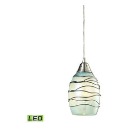 Elk Lighting - EL-31348/1MN-LED Vines LED 1-Light Pendant in Satin Nickel - Vines Collection 1 light pendant in satin nickel - LED offering up to 800 lumens (60 watt equivalent) with full range dimming. Includes an easily replaceable LED bulb (120V).