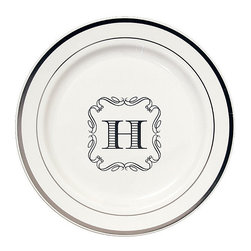 Frontgate - Premium Round Personalized Dinner Plates - Set of 50, Single Letter Monogram - Made from 100% plastic. White plate with silver trim border. Choose from an array of monogram styles and colors. Coordinates with Personalized Disposable Barware collection. One-time use only; not dishwasher safe. Add distinct style to a party, wedding, shower, or family gathering with premium personalized plates. Sophisticated round white plates with a delicate silver trimmed border deliver a unique touch with a disposable convenience essential for hosting a large group. . . . . . Personalized items are nonreturnable.