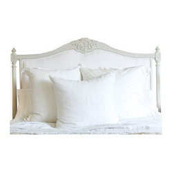 Eloquence - Louis XVI French Country White Cotton Upholstered Headboard - Queen - This gorgeous Louis XVI-inspired headboard, replete with classic upholstery and intricate detailing, is the perfect backdrop to your sweetest dreams. If you love both simplicity and luxury, this is the headboard for you.
