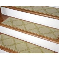 "Dean Flooring Company - Dean Premium Carpet Stair Treads - Duchess Ivory/Gold 35"" x 9"" (Set of 13) - Dean Premium Carpet Stair Treads - Duchess Ivory/Gold 35"" x 9"" (Set of 13) : Beautiful Plush Premium Carpet Stair Treads by Dean Flooring Company. Luxurious and Resilient Texture. High Fashion Design with Beautiful Diamond Trellis Design. Densely Woven Construction 100% Opulon (Polypropylene and Acrylic). Uncommon Softness and Durability. Premium Quality Broadloom is Woven Face-to-Face on State-of-the-Art Wilton Looms. Stylish Enough to Compliment the Finest Decors. Each tread measures approximately 35 inches by 9 inches. Set Includes 13 Pieces. Each tread is finished with color matching yarn. Prevents slips on your hardwood stairs. Provides warmth and comfort. Extends the life of your hardwood stairs. Easy do-it-yourself installation with Double Sided Carpet Tape (Not Included-sold separately). Add a touch of warmth and style to your stairs today!"