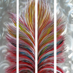 Pure Art - Luminosity of the Abstract Tree Handcrafted Four-Piece Metal Wall Art - Allow the enchantment of the soft subtle lines of this metal wall art hanging to lure your senses into a peaceful dream with the Luminosity of the Abstract Tree Handcrafted Four-Piece Metal Wall Art. Hues of carefully selected colors capture the eyes bringing a state of cascading auras to feel you completely. Watch as your guest fall prey to this inviting sense when they enter your guest area for a visit. Relaxation will exude from the atmosphere into you as you sleep in a bedroom with the presence of this attractive work of art. Reward your hard work with a conversation piece on display for all to see.Made with top grade aluminum material and handcrafted with the use of special colors, it is a very appealing piece that sticks out with its genuine glow. Easy to hang and clean.
