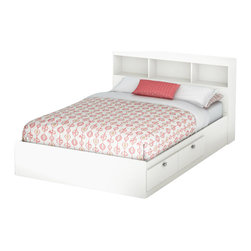 South Shore - South Shore Affinato Full Bookcase Storage Bed Set in Pure White Finish - South Shore - Beds - 3260211093PKG