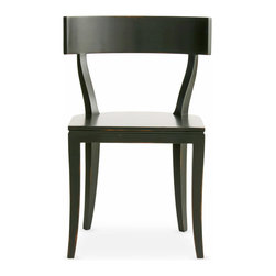 Thomas Side Chair - Boasting elegant lines in its c-shaped back and subtle saber legs, the Thomas Side Chair delivers simple sophistication to a dining room or kitchen. This wood seat offers a choice of satin luster colors created from a unique multi-layered lacquer and antiquing process. Shown in Black. Our Cottage House Collection is a wonderful blend of antique cottage style furniture that beautifully interpret reproductions through a labour of passion and quality. Using a multi-layered hand lacquering and antiquing process, these heirloom quality furniture pieces are designed to last generations. What makes this collection stand out from the rest is its great attention to detail and alder solid wood construction. Hand applied distress markings artistically mimic normal wear closely representing the original antique piece. The ideal solution to bring an eclectic, old world feeling into today's modern decor!