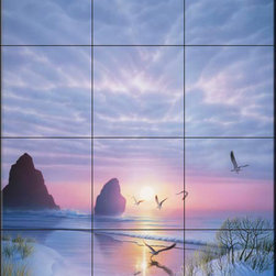 The Tile Mural Store (USA) - Tile Mural - Radiant Seashore - Kr - Kitchen Backsplash Ideas - This beautiful artwork by Kirk Reinert has been digitally reproduced for tiles and depicts seagulls flying over the sea at sunset  Beach scene tile murals are great as part of your kitchen backsplash tile project or your tub and shower surround bathroom tile project. Waterview images on tiles such as tiles with beach scenes and sunset scenes on tiles.  Tropical tile scenes add a unique element to your tiling project and are a great kitchen backsplash  or bathroom idea. Use one or two of our beach scene tile murals for a wall tile project in any room in your home for your wall tile project.