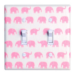 Elephant Nursery - Handmade light switch plates are a fun and creative way to add the perfect finishing touch to your child's room or baby nursery!  This double toggle light switch plate features adorable pink elephants on a white background!