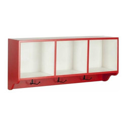 Wall Shelf with Three Hooks in Red and White - Reminiscent of schoolhouse cubbies, the Safavieh Alice Wall Shelf is designed to minimize entry hall clutter, and keep kids organized.  Made from poplar wood with two tone color finish of hot red and white, this piece has three storage spaces for hats, gloves, or decorative accessories and hooks for coats and scarves.