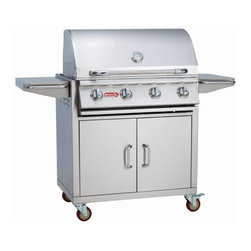 "Bull - Bull Outdoor LP Gas 30"" Outlaw Grill and Cart - 60,000 BTU's of total cooking power -4 Porcelain Coated Bar Burners -304 Stainless Steel Construction -Dual Lined Hood -Piezo Igniters on every valve -Metal Knobs -Warming Rack -CSA Approved. The 30"" Outlaw Cart is a wonderful grilling option for the value minded customer who does not want to give up massive cooking power. The cart offers good storage underneath the grill and stainless steel side shelves for food preparation. -Weight: 217 lbs."