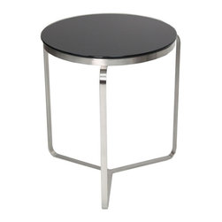 sohoConcept - Metro Round End Table - Soho Concept BNT Metro Round Glass End Table is part of a series of round, square and rectangular occasional tables. Uniquely designed with black tempered glass top and a fine-brushed stainless steel frame. The Metro's solid structure presents a table that is durable for use in public areas and an attractive modernistic look to complement a contemporary interior at home