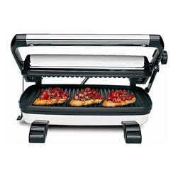 "Hamilton Beach - Panini Press - A Gourmet Sandwich Maker from Hamilton Beach , this Panini press grills sandwiches of any thickness on 12"" X 8.5"" nonstick grids. It features Power and Preheat Lights and a floating lid that locks for upright space-saving storage. Recipes are included."
