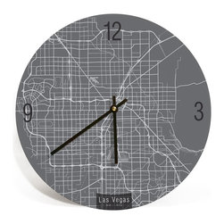 "ArtnWalls - LAS VEGAS MAP ART Wall Clock - Unique Contemporary Art Wall clock - 11"" Round - Abstract Las Vegas NV, map art - Features the streets of Sin City."