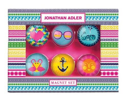 Jonathan Adler - Jonathan Adler Magnet Set, Assorted Icons - Spice up your fridge or any magnetic surface with glass domed magnets from Jonathan Adler. Fun icons in bright colors will light up any kitchen or office area.