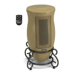 Lasko Products - Remote Control Ceramic Tower Heater Cream - Designer series Oscillating Ceramic Heater with Remote. With style to spare, the Designer Series Oscillating Ceramic Heater provides warmth and charm to any room. Displaying a beautiful metal scrollwork base, unique hourglass shape, and neutral color, it blends well with any decor. Not only elegant, its electronic touch-control operation allows you to fine tune the room temperature to your comfort level. Features include two quiet comfort settings, an adjustable thermostat, and an energy-saving seven-hour timer. The oscillation function allows you to expand your comfort zone over a broad area. Decorative Metal Scrollwork Base Blends Beautifully with Surrounding Decor.  Electronic Touch-Control Operation with Adjustable Thermostat and 7-Hour Timer.  Oscillation for Full-Room Coverage.  Two Quiet Comfort Settings: High - 1500w/5118 BTU, Low - 900w/3070 BTU, PLUS Auto-Thermostat Controlled.  Built-In Ceramic Safety: Self-Regulating Ceramic Element, Automatic Overheat Protection.  Fully Assembled for Immediate Use.