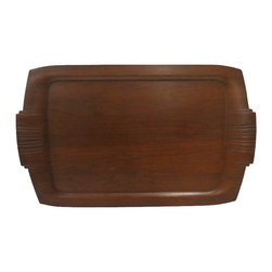 Mid-Century Wooden Tray - Wooden tray with decorative carvings on handles.