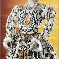 Isabelle de Borchgrave éléonore de Toléde Street Banner Wall Art - From the de Young museum an authentic, limited edition street banner to display in your home as spectacular wall art. Isabelle de Borchgrave makes fabulous paper gowns inspired by the Renaissance Medicis, and legends the likes of Marie-Antoinette, but she also makes paper ensembles that are worn! She designed and made the delicate paper dress Queen Fabiola of Belgium wedding of Prince Felipe of Spain in 2004. HRH Princess Annemarie wore a de Borchgrave white on white wedding dress train at her marriage to Prince Carlos of Bourbon-Parma. The artist also reproduced de Chirico and Bakst costumes of the early 20th century avant-garde Les Ballet Russes .
