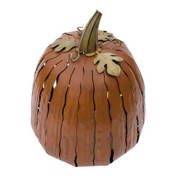 Desert Steel - Pumpkin Luminary, Small - Uniquely handcrafted, maintenance free design requires no care or upkeep
