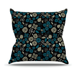 """Kess InHouse - Allison Beilke """"Leaf Scatters Midnight"""" Throw Pillow (Outdoor, 18"""" x 18"""") - Decorate your backyard, patio or even take it on a picnic with the Kess Inhouse outdoor throw pillow! Complete your backyard by adding unique artwork, patterns, illustrations and colors! Be the envy of your neighbors and friends with this long lasting outdoor artistic and innovative pillow. These pillows are printed on both sides for added pizzazz!"""