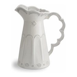 Arte Italica - Merletto Antique Scalloped Pitcher - Pitch perfect. This gorgeous ceramic piece features a lacy pattern that was inspired by a vintage design. It offers an elegant way to serve your guests iced beverages, or you can even use it as a decorative vase filled with fresh blooms. It's handmade in Italy for one-of-a-kind character, and each will vary slightly in size and color.