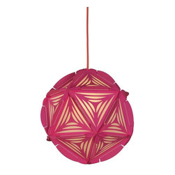 Control Brand - The Como Neon Pink - The Como Neon Pink is a decorative, globular pendant, and is made from twenty Paper triangles; colorful rubber bands hold the structure together. The individual Paper elements are cut at the edges in arcs and have two incisions to hold the rubber bands in place. In combination with the feather cuts, the patterns and perforations in the Paper triangles create a beautiful play of light and shadow. Ceiling power cord is not included.