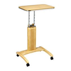 Office Star - Precision Natural Maple Finish Laptop Stand w - Highlighted by a patent pending adjustable height feature that allows it to be used from a seated or standing position, this innovative laptop stand will be a great choice for any office. Ideal for students, the unit is made of wood solids and veneers in a warm maple finish and has a castered base that locks for stability. Made from select solid wood and wood veneers. Maple finished. Unique patented easy to use height adjustment mechanism. User has ability to work from seated or standing position. Casters for ease of mobility with 2 locking for stability. Patent pending. Adjustable height from 27 in. to 36.5 in.. 20 in. W x 17.75 in. L