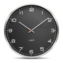 Leff Amsterdam - Leff Amsterdam | One45 Stainless Steel Wall Clock with Black Arabic Dial - Design by Wiebe Teertstra.
