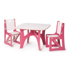Kids Table and Matching Chairs Set, Pink and White