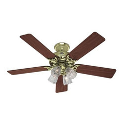 Hunter - Hunter Studio Series (2013) Ceiling Fan in Hunter Bright Brass - Hunter Studio Series (2013) Model HU-53066 in Hunter Bright Brass with Reversible Medium Oak/Walnut Finished Blades. 4-Light Fixture with Clear Scallop Glass for the Studio Series.
