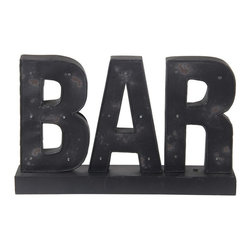 Silver Nest - Bar Sign with LED Lights - Distressed and rugged with a touch of glam, this black metal bar sign lights up the dark with LED lights, battery operated...- AAA Batteries required, not included. Made to sit on bar top or shelf, does not hang on wall.
