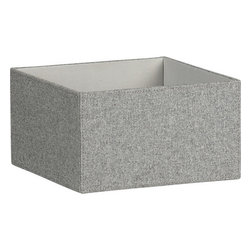 Gray Felt Open Storage Box - I use fabric baskets to hold all of my scarves and socks, and I certainly wouldn't mind replacing my worn-out ones with something more durable and classic like these boxes.