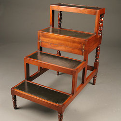 "Antique Indoor Accessories - Custom English library steps with black leather. 27"" tall when open, 17"" tall when closed."