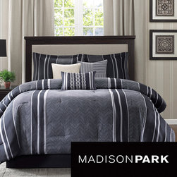 Madison Park - Madison Park Beldon 7-piece Comforter Set - The Madison Park Beldon Comforter Collection gives a modern edge along with casual stripes. Created with menswear fabrics in mind, the comforter set is made with a grey menswear fabric that features a herringbone weave.