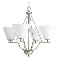 Progress Lighting - Progress Lighting P4622-09 Bravo Four-Light Single-Tier Chandelier with Fluted - From the Bravo Collection, this four light, single tier down lighting chandelier features fluted etched glass shades with simple curves and straight line arms.Features: