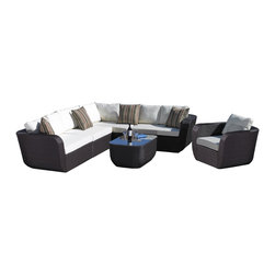 Madbury Road - Malta Sectional With Club Chair - The Malta Lounge set has redefined contemporary wicker furniture. The complete package consists of a four piece outdoor sectional, coffee table, and matching club chair.