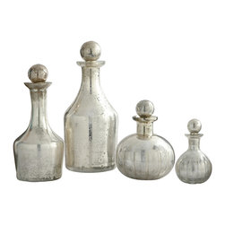 Kathy Kuo Home - Blythe Modern Silver Small Decanters Decorative Bottles- Set of 4 - When it comes to creating an instant heirloom mood, here's nothing like mercury glass bottles.  So feminine, with an iridescent finish that pleases even the most jaded eye, this set of four classic bottles would be welcome in just about any bathroom or bedroom where the soft, feminine and gorgeous are celebrated.