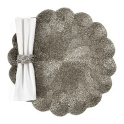 Z Gallerie - Sterling Beaded Placemat - Set of 4 - All you need is our stunning Sterling Beaded Placemat to ensure the elegance at your outstanding events. Each gorgeous placemat is meticulously crafted of luminous deep silver metallic glass beads, sewn to a grey satin backing, with the edge finished in a lovely scallop design. Pair with one of our beautiful silver beaded napkin rings to coordinate the look. Sold as a set of four.