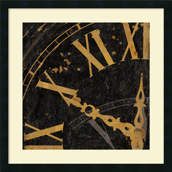 Amanti Art - Roman Numerals II Framed Print by Russell Brennan - This clock face study in black and gold by Russell Brennan is sure to give your decor a note of stately style.