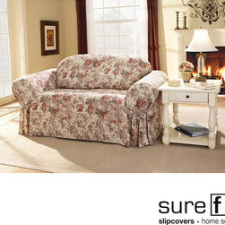 Sure Fit - Sure Fit Chloe Floral Sofa Slipcover - Update your decor with this sentimental floral sofa slipcover featuring old-fashioned cabbage roses in muted browns,pinks and pastels against an ivory background. A cozy cotton-poly blend,this machine-washable slipcover adds subtle grace to any room.