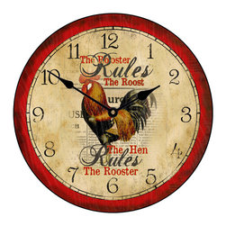 """Tyler - Hen Rules Clock, 30"""" - Colorful Rooster Clock"""