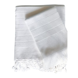 Turkish-T - Turkish d'Light Towel, White - This Turkish delight is a sweet treat for your hands, body and feet. Woven from white cotton using ancient Turkish techniques, this hand towel features a subtle sculptured stripe and knotted fringe. Give yourself and your guests a luxurious spa experience with these soft and absorbent beauties.