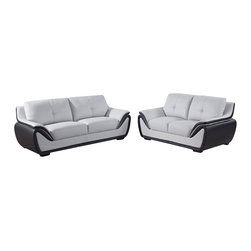 Global Furniture - Global Furniture USA 3250 3-Piece Bonded Leather Living Room Set in Grey & Black - Enjoy classic style and top-notch relaxation with this chair. The elegant design and exquisite cushioning provides perfect comfort that will keep you cozy and the extra padded arms add the perfect finishing touch.