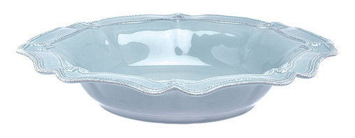 Berry and Thread Serving Bowl - Large - Blue - A shallow bowl with a stylish wide rim molded into fluttering, symmetrical crimps makes a beautiful statement as a fruit bowl, a pasta server, or a decorative centerpiece. The Large Blue Serving Bowl from the Berry and Thread collection is crafted from stoneware glazed in a mellow, mood-brightening ice blue, then accented with textural details to make the most of the shapely outline.