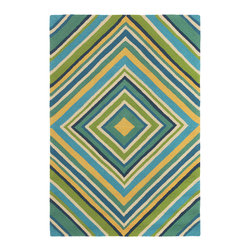 Company C - Company C Indoor/Outdoor Rug Spinnaker Aqua - Company C crafts an inviting, evocative collection of home textiles and accessories with a passion for stunning color and bold graphics. Inspired by a boat's unfurled sails, a bright diamond stripe print forms the ColorSpree Spinnaker rug. This durable floor covering's pool blue, aqua, turquoise, green and yellow hues pop in high-traffic kitchens, patios or mudrooms. Hand-hooked indoor and outdoor rug is made of water and mildew-resistant 100% polypropylene with a mesh fabric backing. Spot clean or hose down and hang to dry. Rug pad recommended. 2'W x 3'H. 2.6'W x 6'H. 3.6'W x 5.6'H. 5'W x 8'H. 8'W x 10'H.