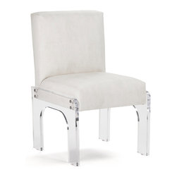 Kathy Kuo Home - Aniston Modern Art Deco Acrylic Dining Chair - Surround your giant rustic, reclaimed wooden dining table with eight of these dynamite ultra-chic modern chairs to create a brilliant contrast.  The chair's crystal clear acrylic base meets its icy arctic faux leather seat to create a delicious Art Deco concoction. Perfect for your contemporary loft or Hollywood glam dining room.