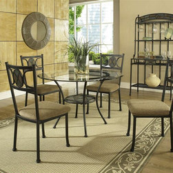 Steve Silver Co. - Carolyn Beveled Glass Top Table Set w Decorat - Includes: Table base, Table top, 4 Chairs & Bakers rack. Decorative faux slate medallion accent. Rich Black finish. 8mm tempered glass top. Sturdy gauge metal construction. Some assembly required. Durable chenille seat cushion in camel. Chair has a welded 1 piece frame. 18 in. seat height. Table: 45 in. L x 45 in. W x 30 in. H (66.5 lbs.). Chair: 21 in. L x 18 in. W x 38 in. H. Bakers rack: 35 in. W x 19 in. D x 72 in. H (65.5 lbs.)