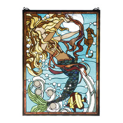 "Meyda Tiffany - 19""W X 26""H Mermaid Of The Sea Stained Glass Window - Clear glass jewel bubbles and rippling Aqua waters surround a enchanting Mermaid in this Meyda Tiffany designer original window. Her hair of Gold and Chestnut swirls against the lunar reflection as she plays with her deep sea companions. 506 pieces of hand cut stained-glass and 48 glass jewels are used to make this delightful window. A solid brass hanging chain and brackets are included."
